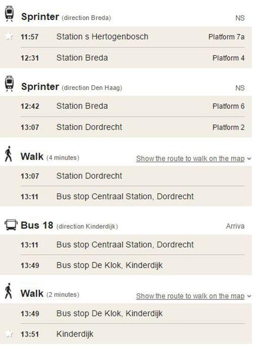 Kinderdijk via Dordrecht e ônibus 18