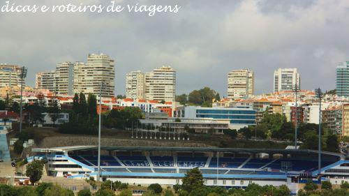 """Estádio do Clube de Futebol """"Os Belenenses"""" visto do Padrão"""