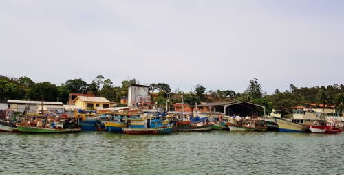 Barcos nas margens do Rio Piraquê-Açu